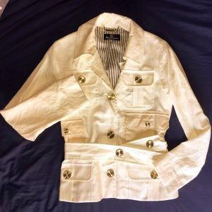 Aquascutum White/Cream Summer Jacket Linen Silk -S
